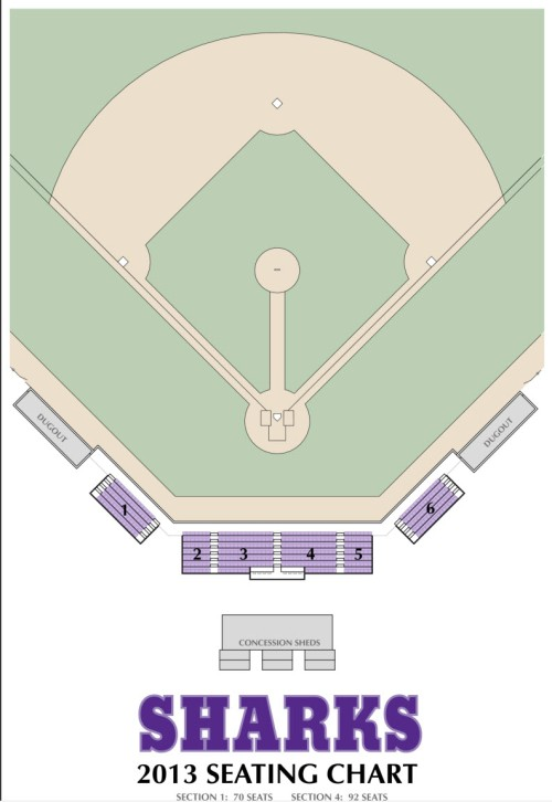 Layout of stadium seats