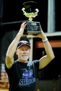 Raising the trophy!