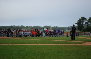 VP OPerations, Bob Tankard, organizing the Little League teams before Opening Day.